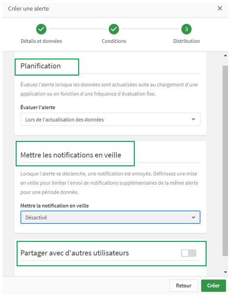 Qlik Sense Data Alerts illustration paramétrer notification partage